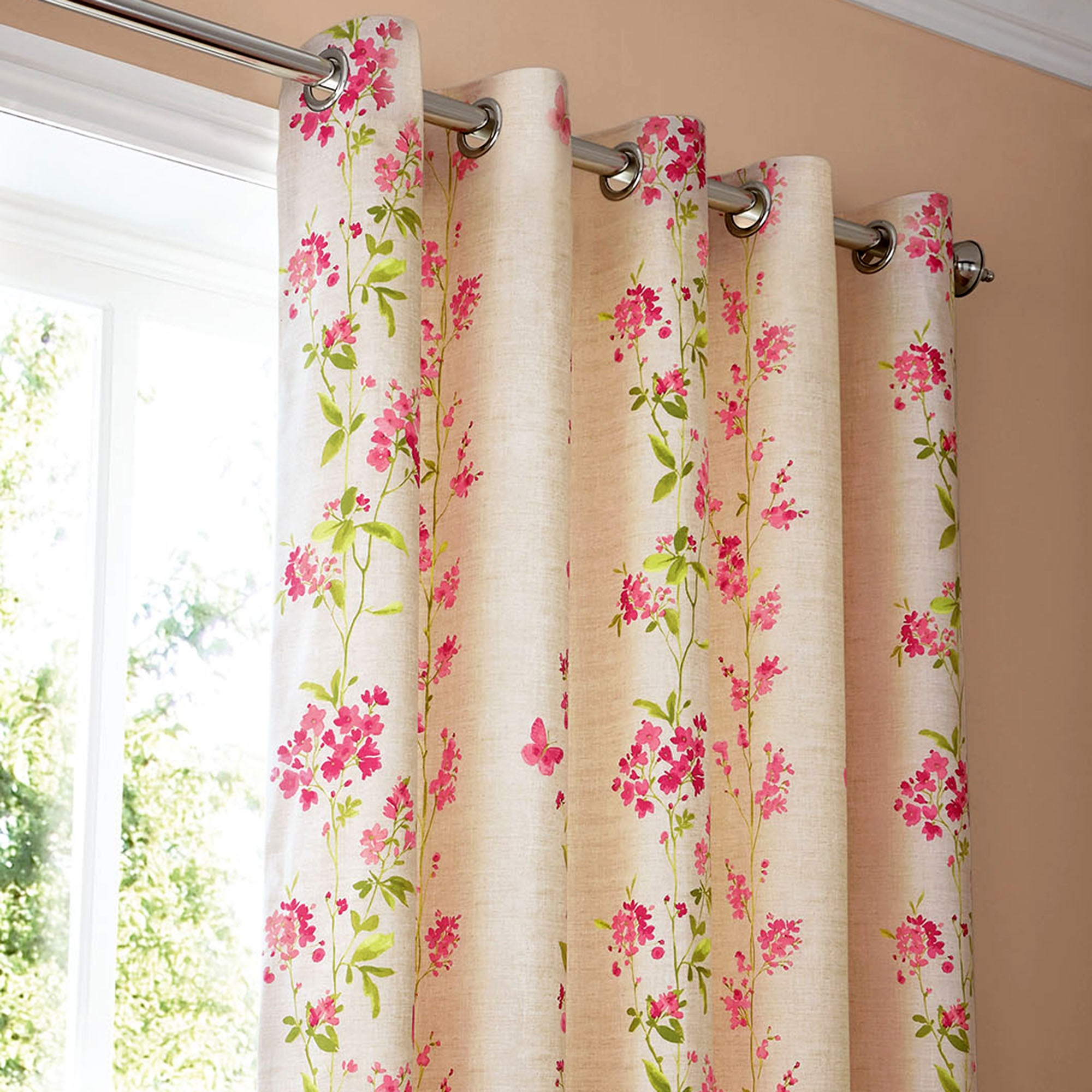pink mimosa thermal eyelet curtains dunelm. Black Bedroom Furniture Sets. Home Design Ideas