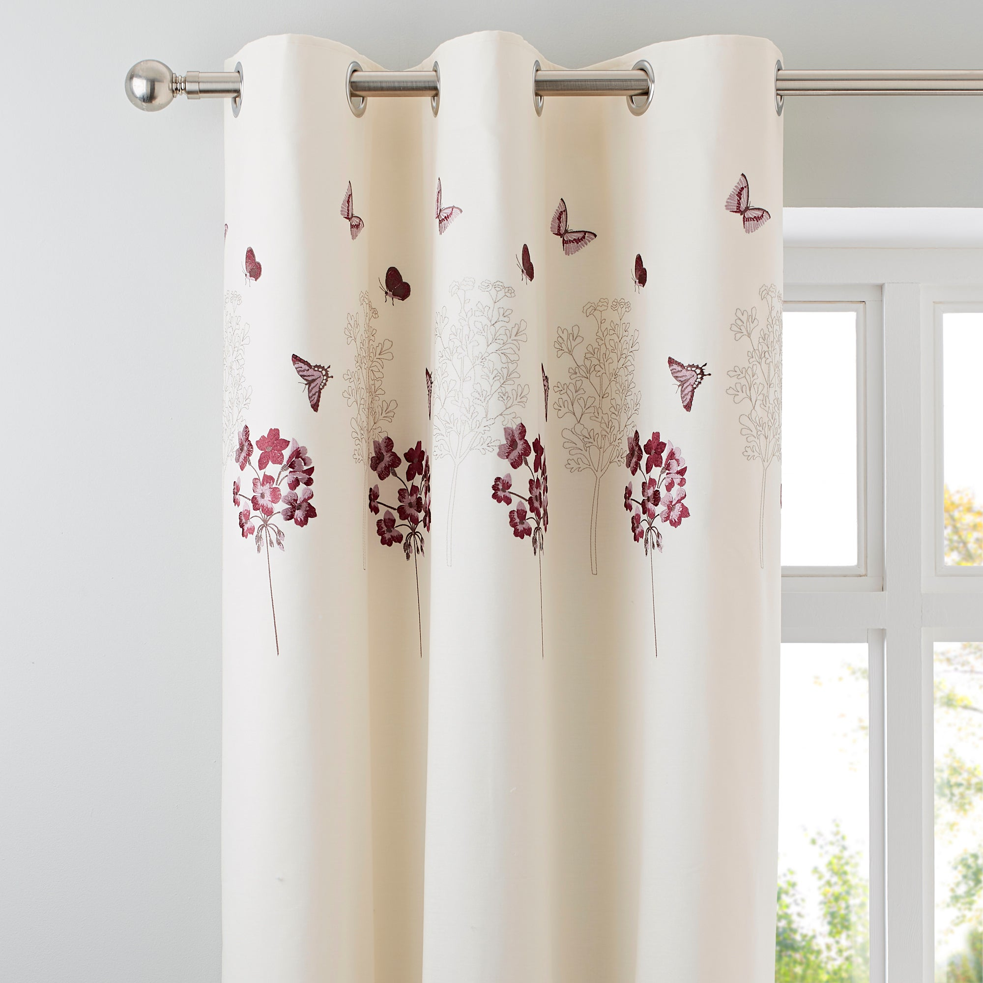 Plum Hydrangea Collection Thermal Eyelet Curtains