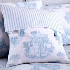 Blue Toile De Jouy Collection Square Cushion