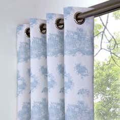 Blue Toile de Jouy Thermal Eyelet Curtains