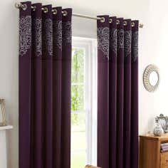 Plum Valencia Thermal Eyelet Curtains