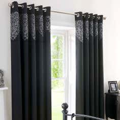 Black Valencia Thermal Eyelet Curtains