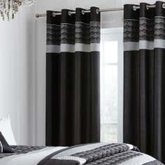 Black Gatsby Thermal Eyelet Curtains