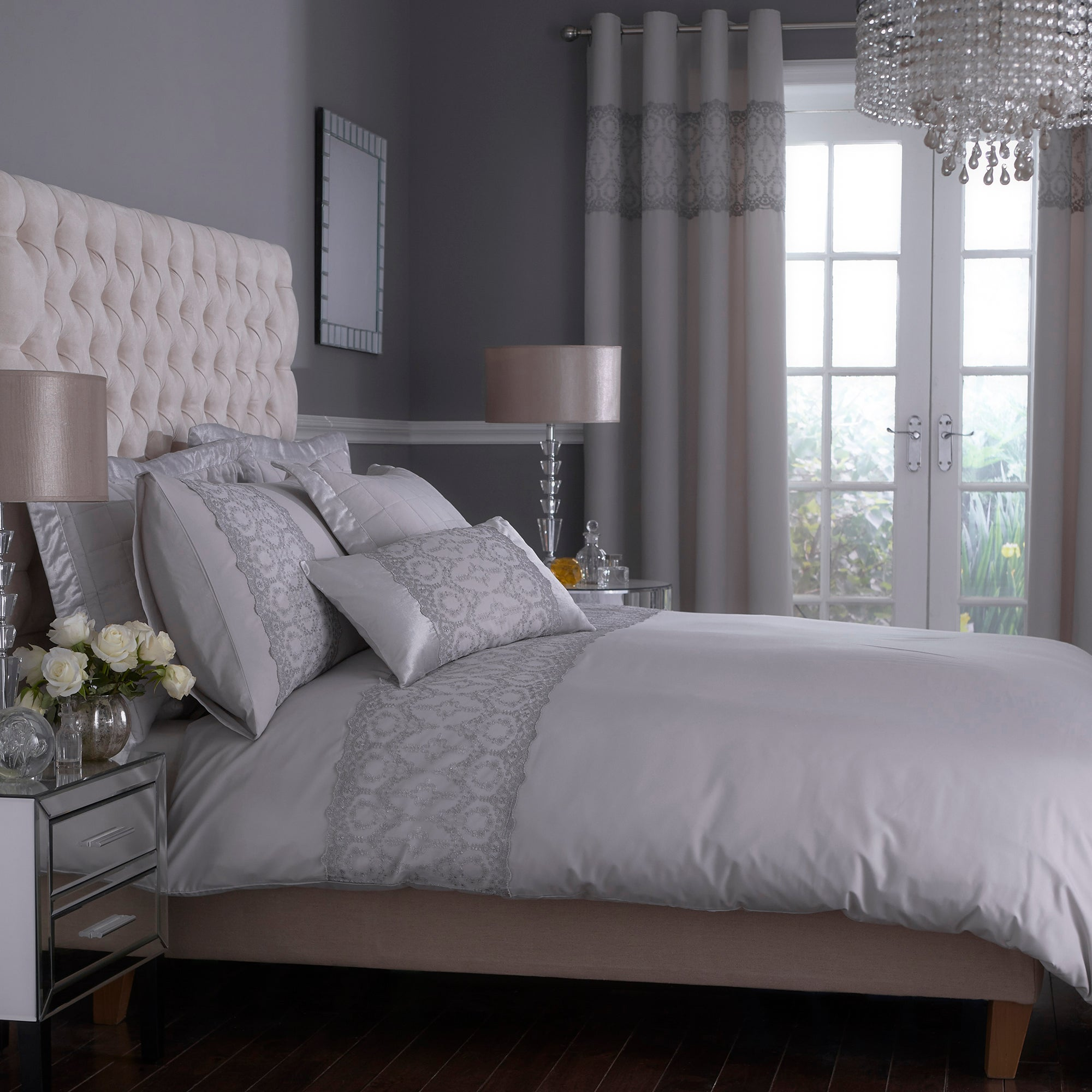 Grey Claudia Collection Duvet Cover
