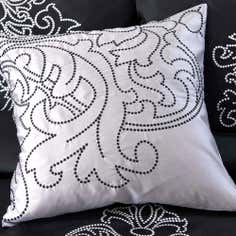 Black Valencia Collection Square Cushion