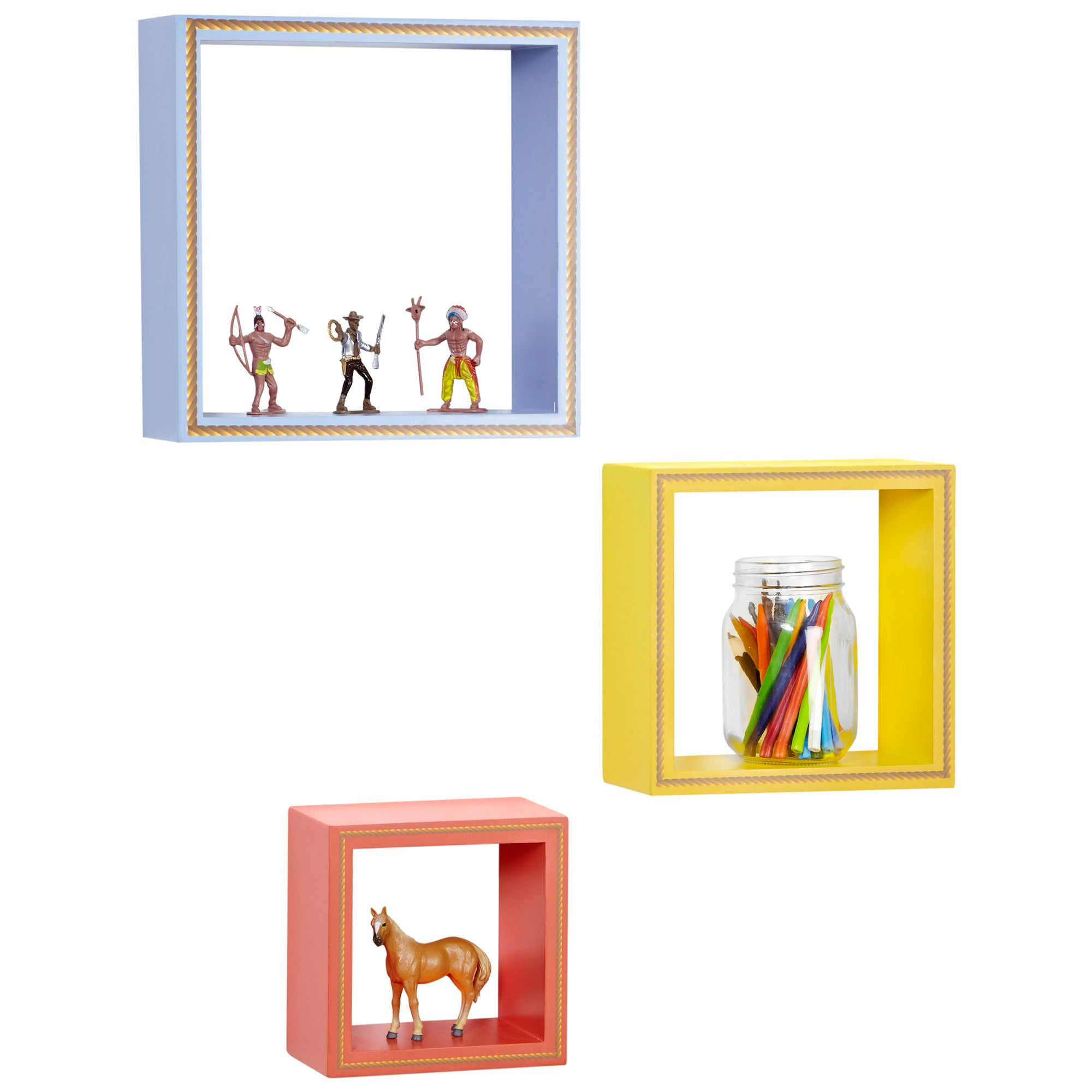 Kids Cowboys and Indians Collection Box Shelves