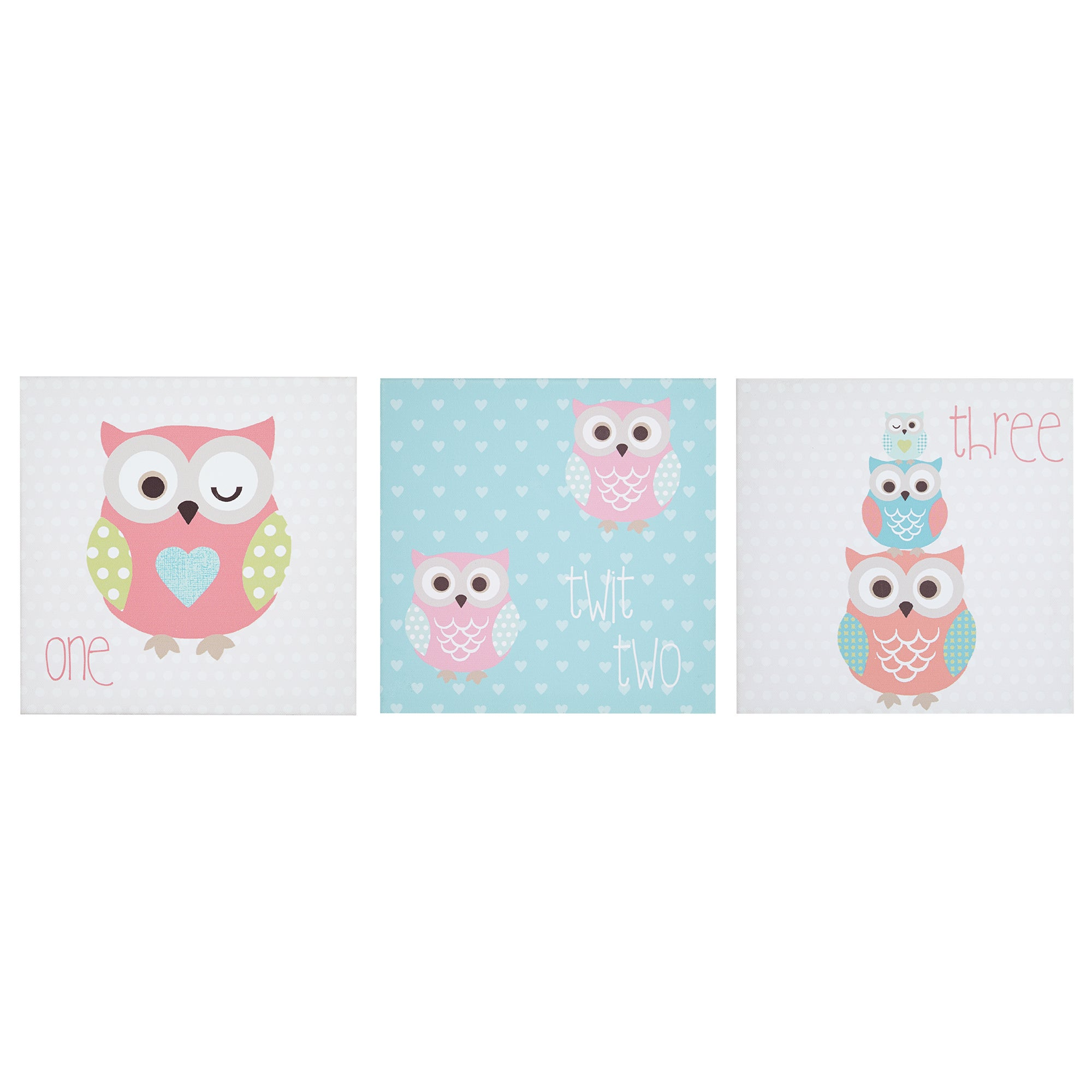 Kids Pretty Owls Collection Printed Canvas