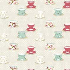 Vintage Tea Cups PVC Fabric