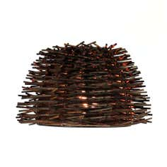 Avril Dark Wood Wicker Pendant