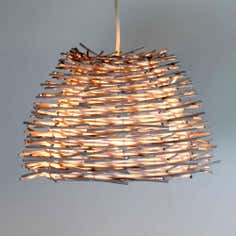 Avril White Wicker Light Pendant