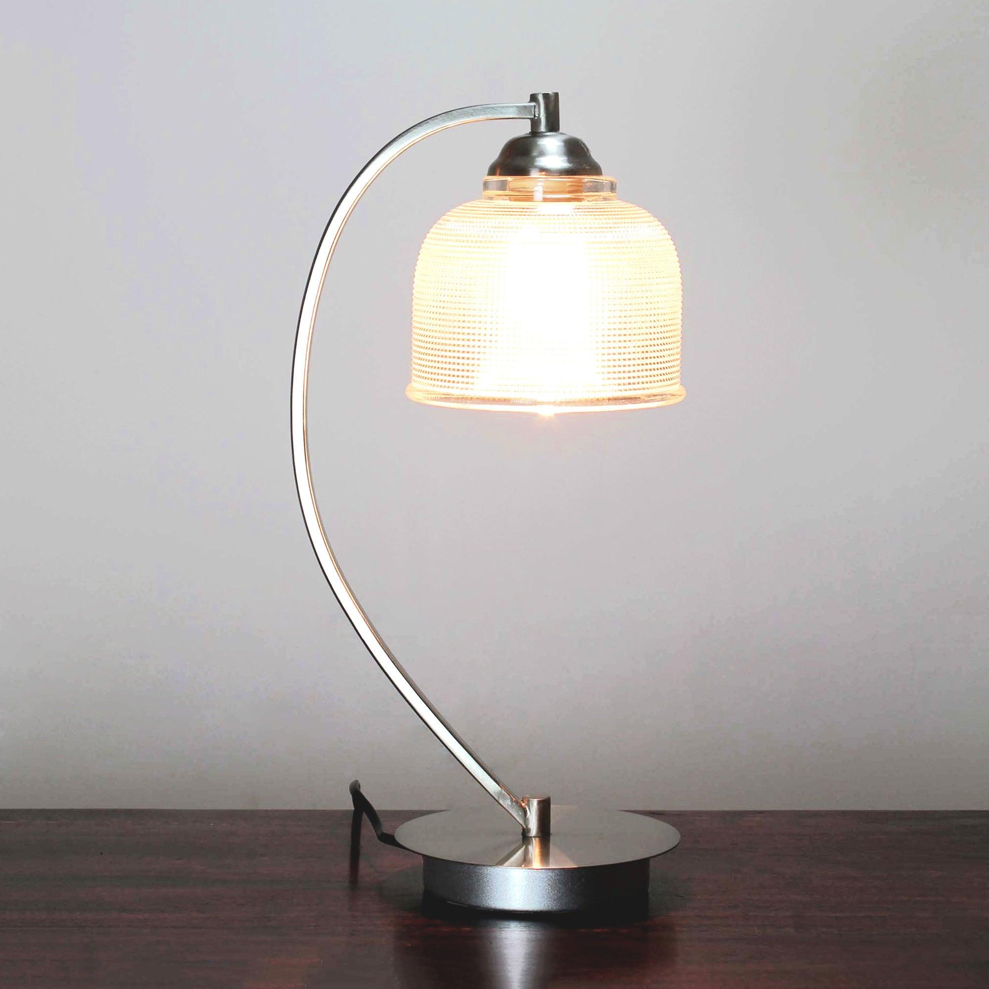 Hotel Cross Hatch Glass Table Lamp
