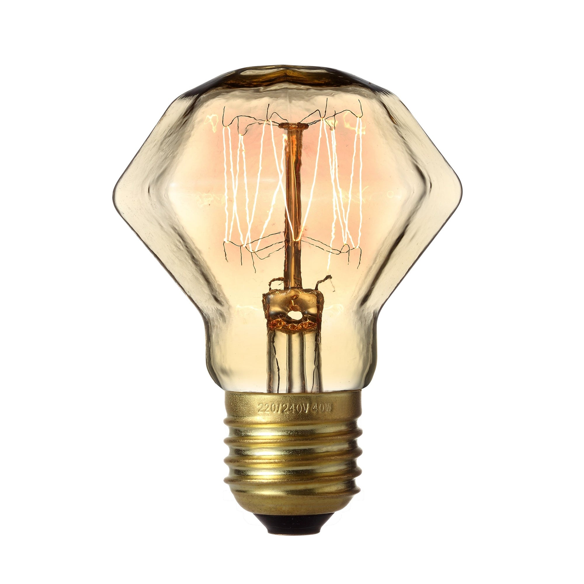 Retro 40W Edison Screw Faceted Light Brown Bulb