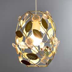 Esme Gold Barrel Floral Pendant