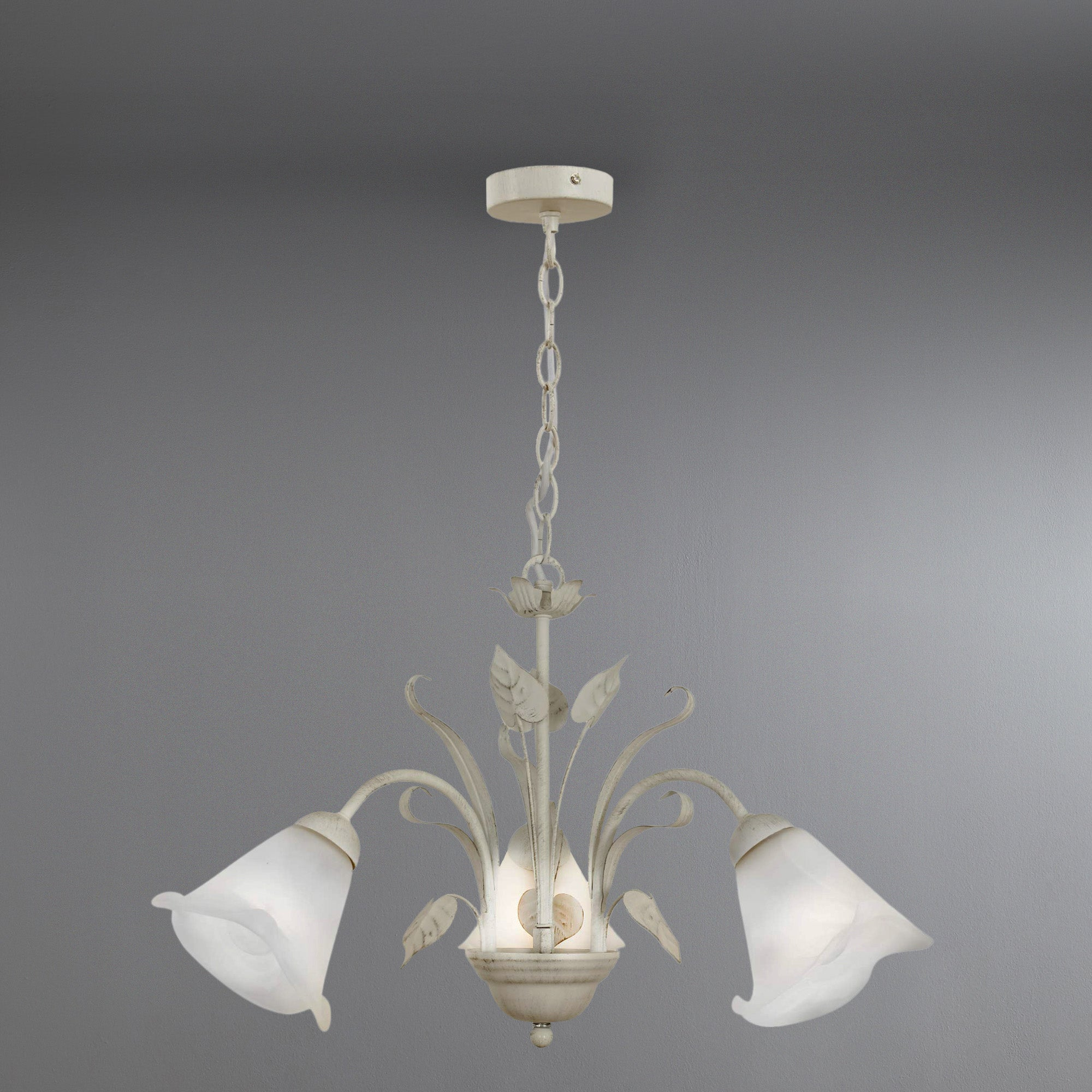 Faye Three Light Floral Ceiling Fitting