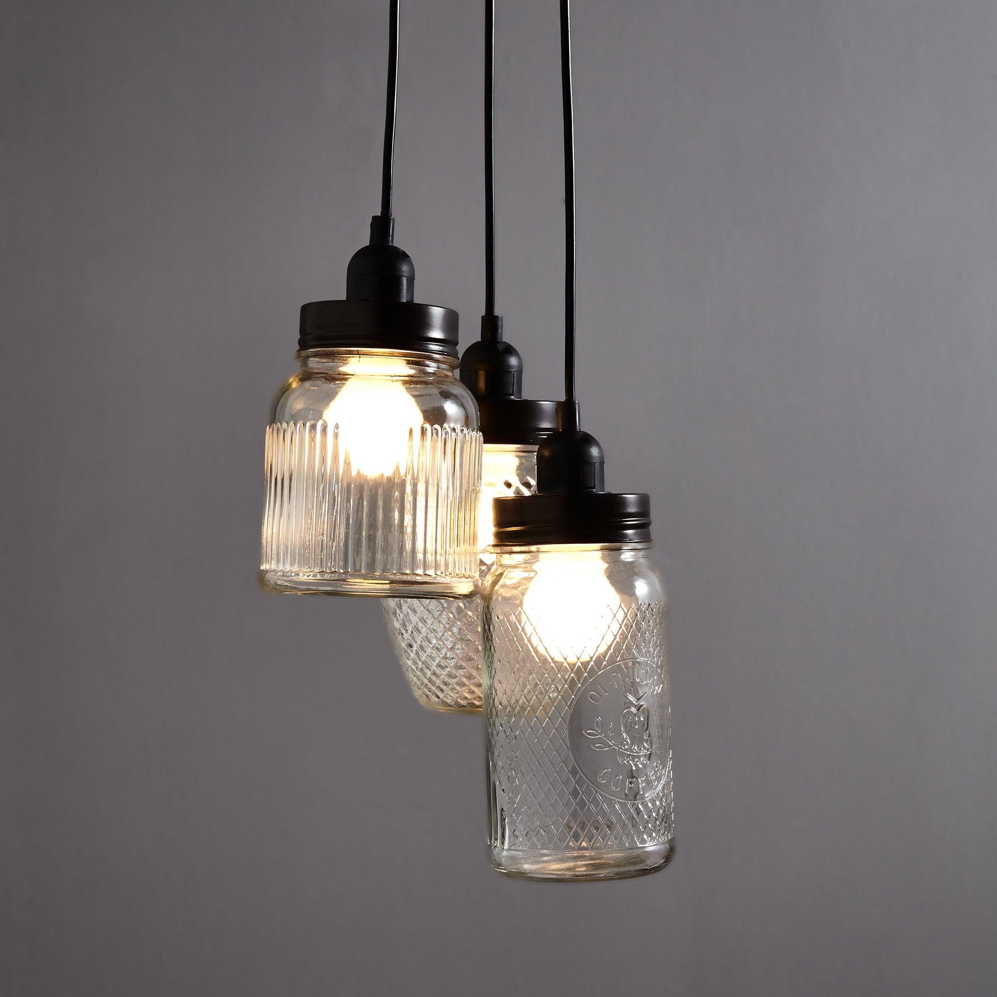 glass jar 3 light cluster dunelm. Black Bedroom Furniture Sets. Home Design Ideas