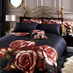 Black Renaissance Rose Duvet Cover Set
