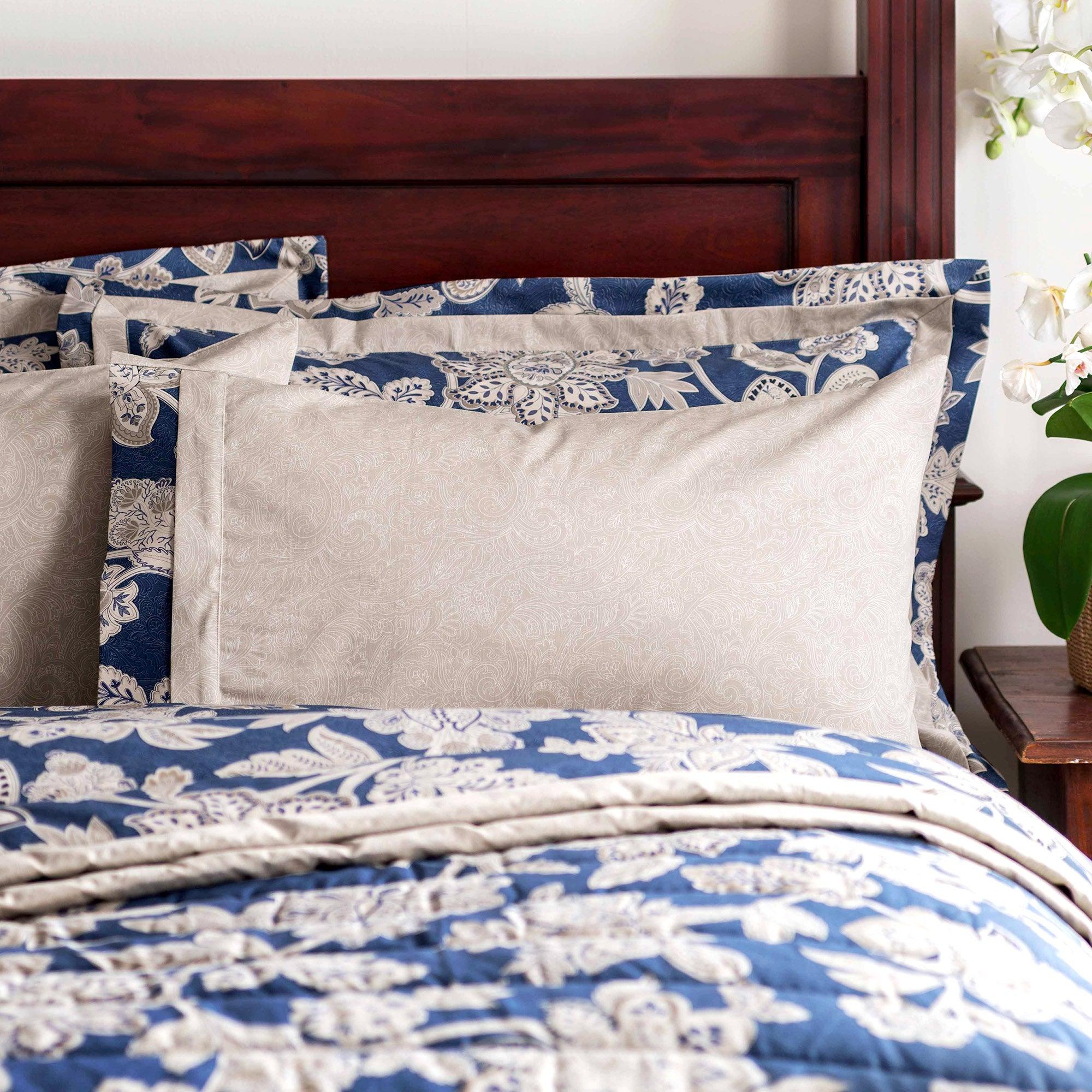 Dorma Blue Samira Collection Cuffed Pillowcase