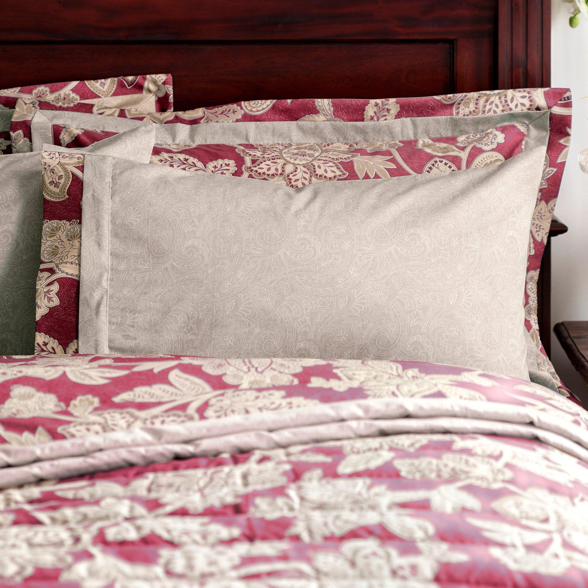 Dorma Red Samira Collection Cuffed Pillowcase
