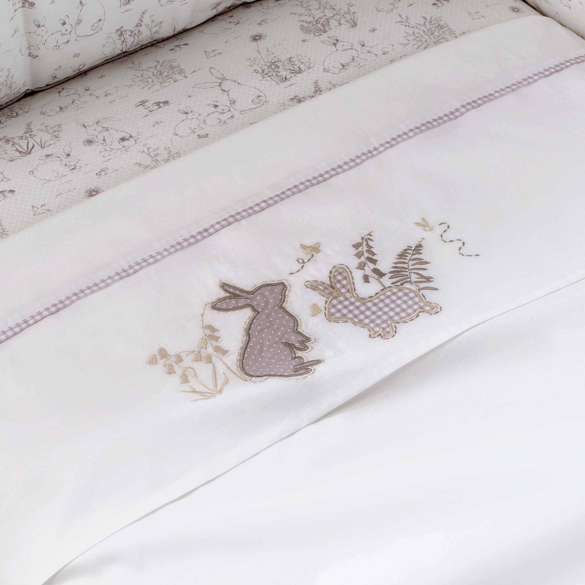 Dorma White Bunny Meadow Collection Flat and Fitted Cot Sheet Set