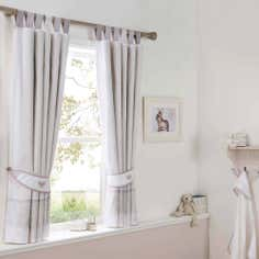 Dorma White Bunny Meadow Lined Pencil Pleat Curtains