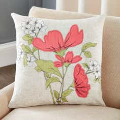 Pink Poppyfields Collection Filled Cushion