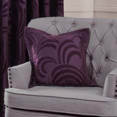 Plum Glamour Flock Collection Cushion