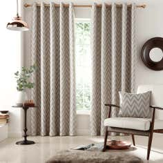 Grey Zanzibar Lined Eyelet Curtains