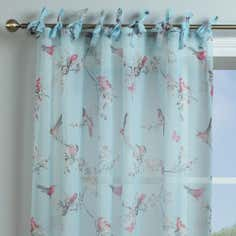 Duck Egg Beautiful Birds Voile Panel