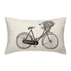Bike with Flowers Cushion
