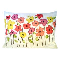 Pink Poppies Boudoir Cushion