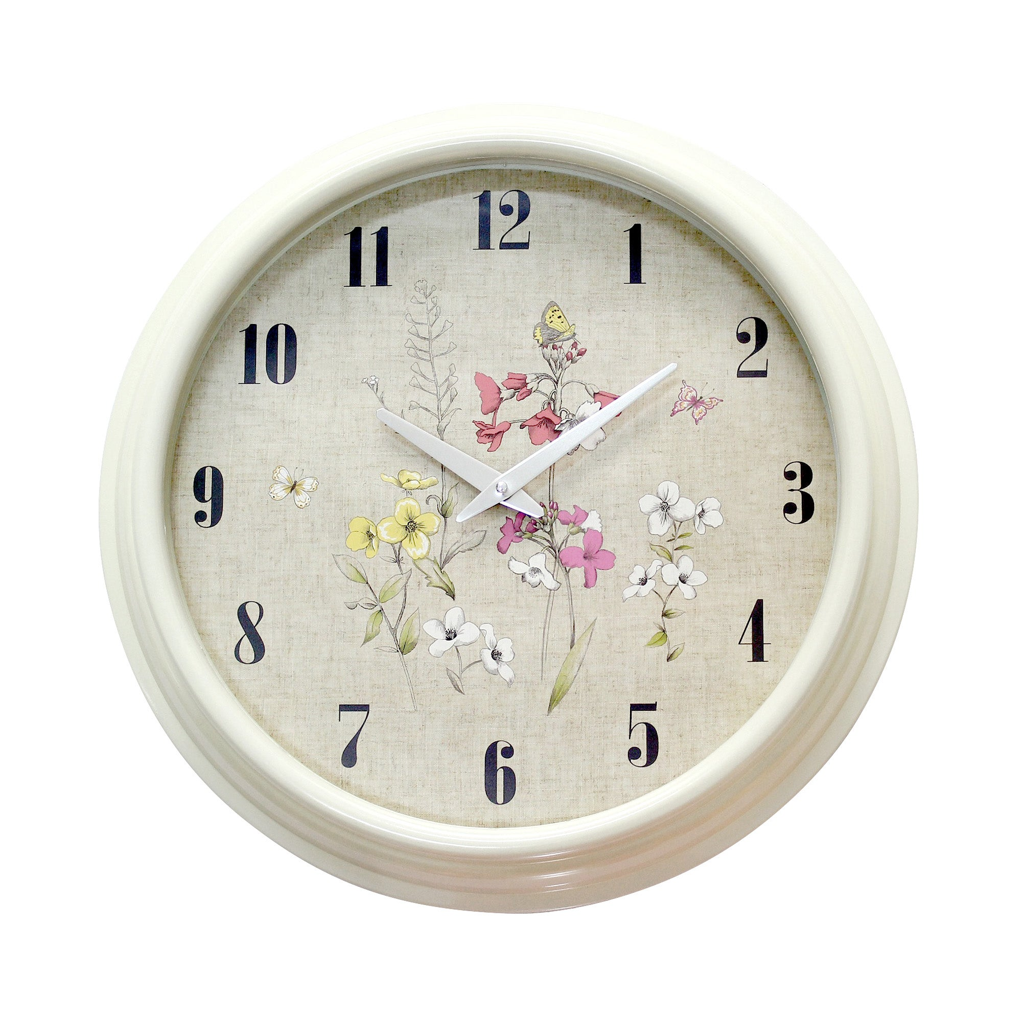 Cream Botanical Wall Clock