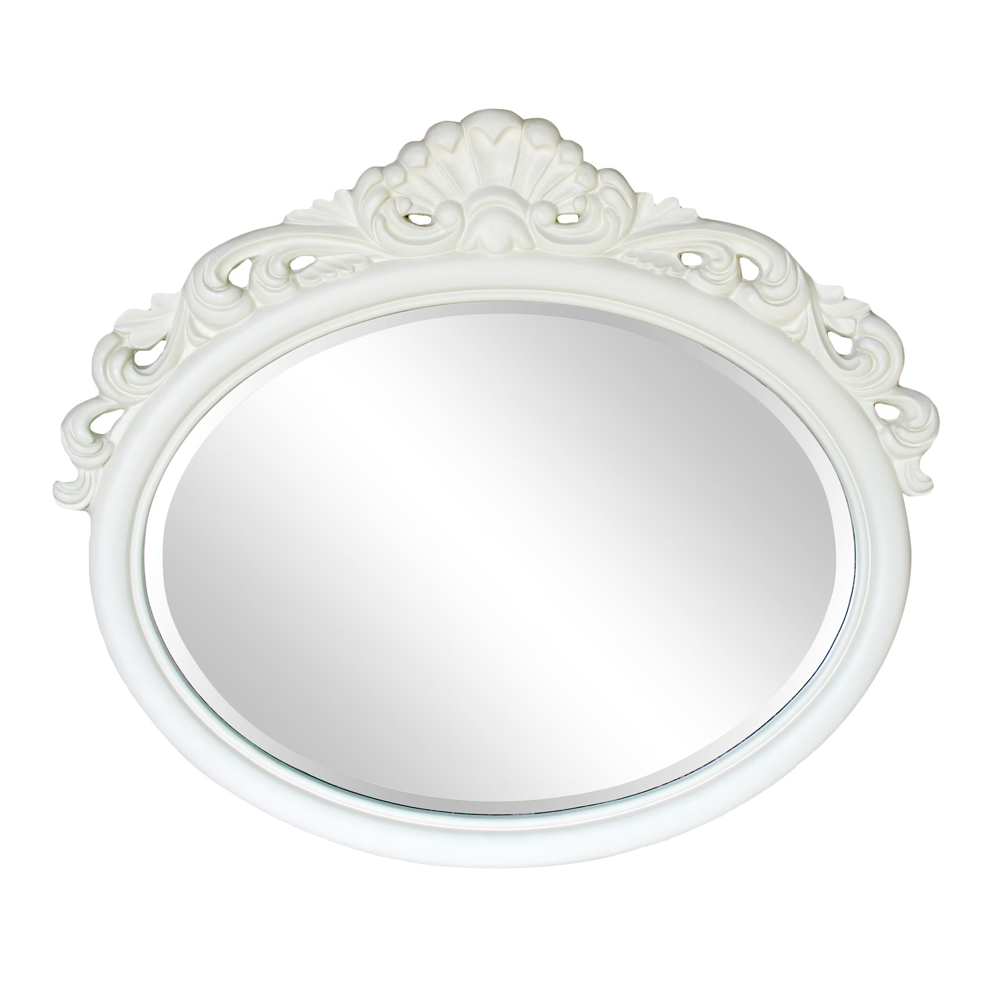 Cream Oval Crest Mirror