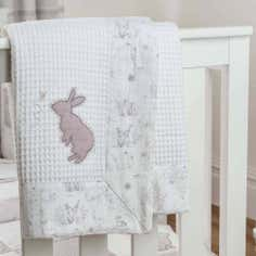 Dorma White Bunny Meadow Collection Pram Blanket