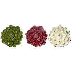 Set of Three Ceramic Flowers