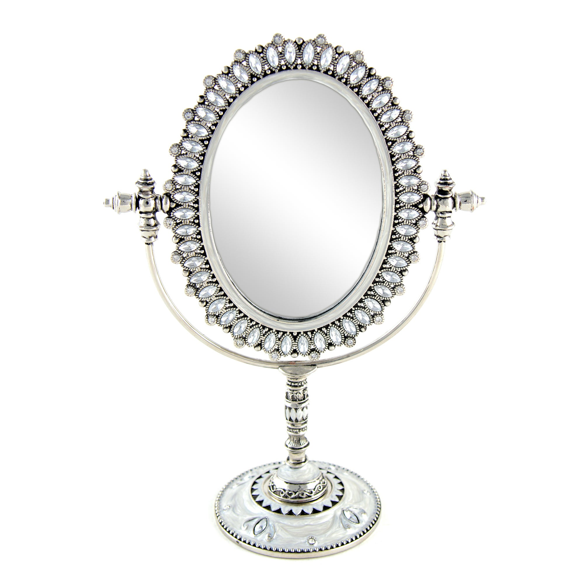Silver Jewelled Table Top Mirror