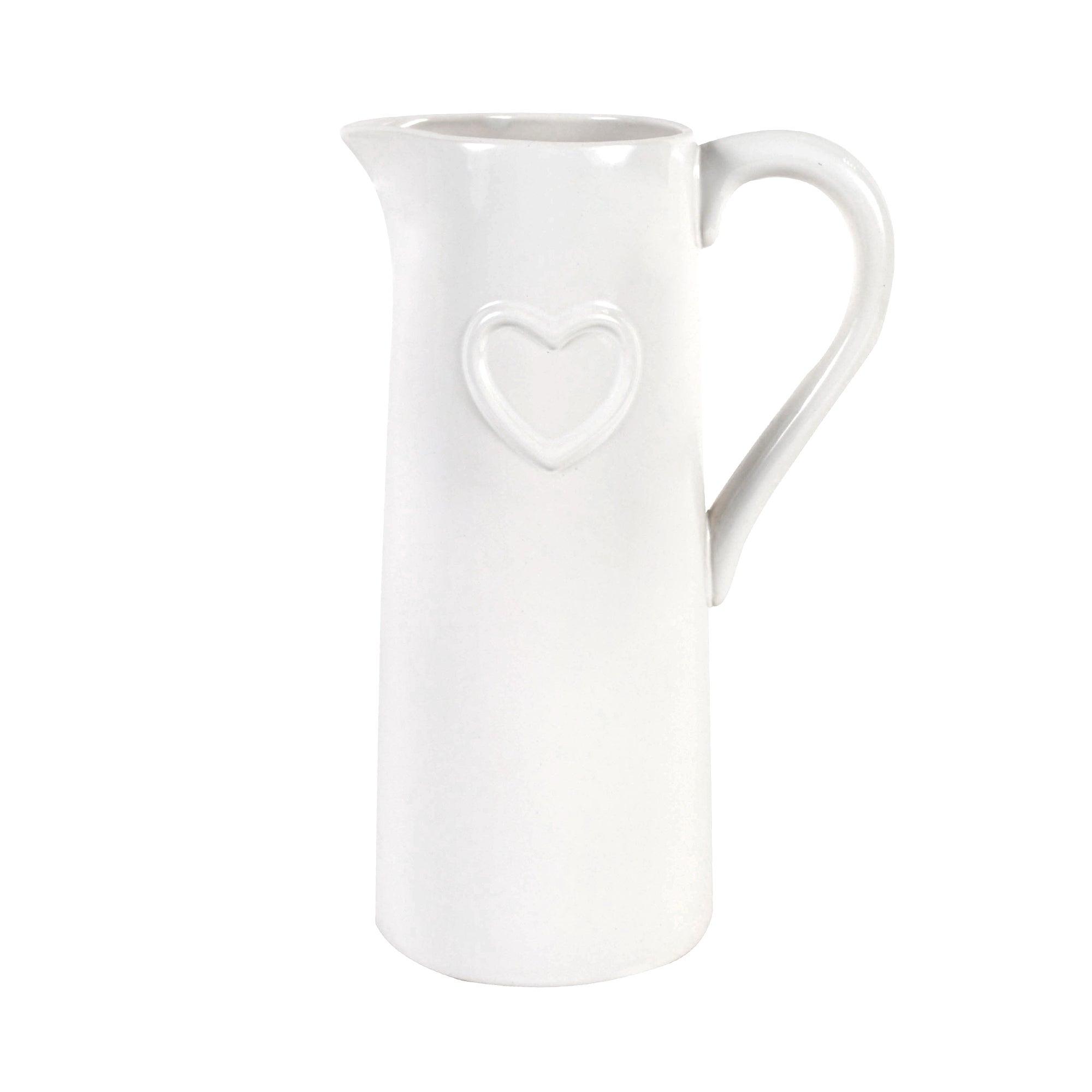 White Heart Jug Vase