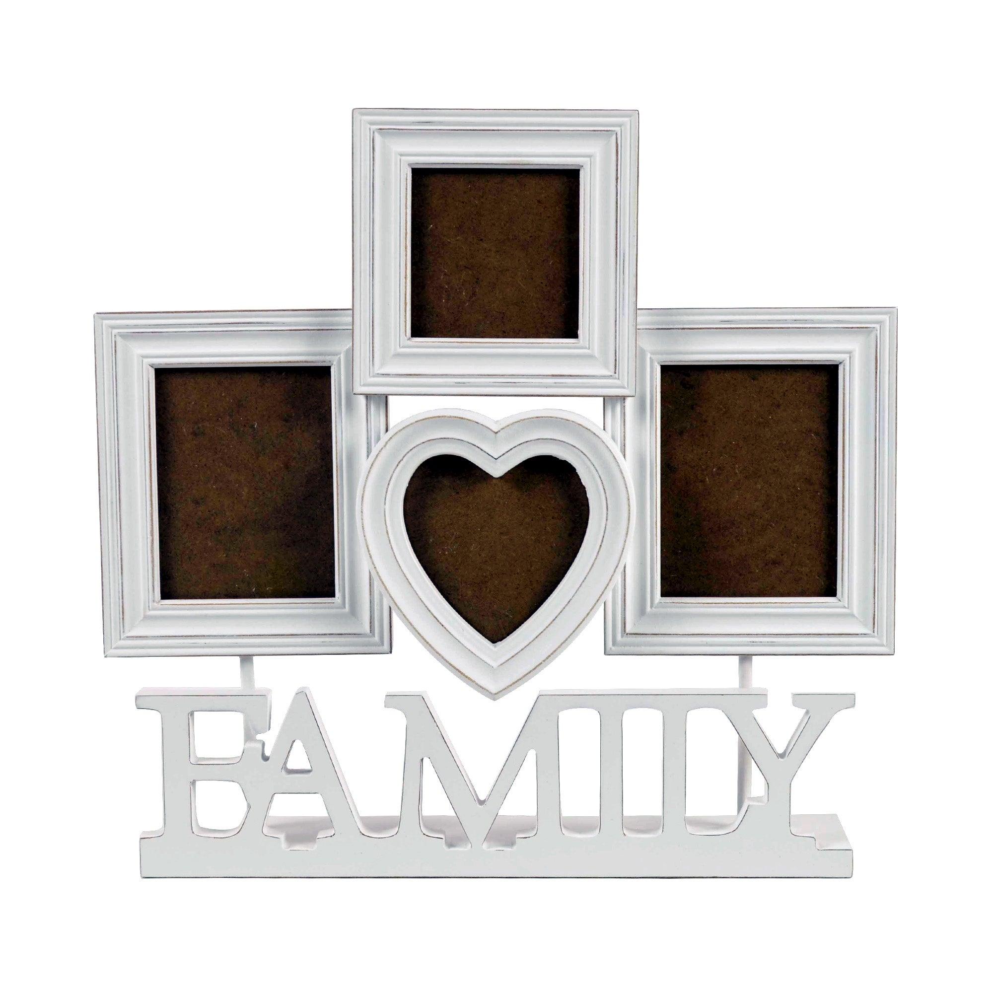 White Four Aperture Family Photo Frame