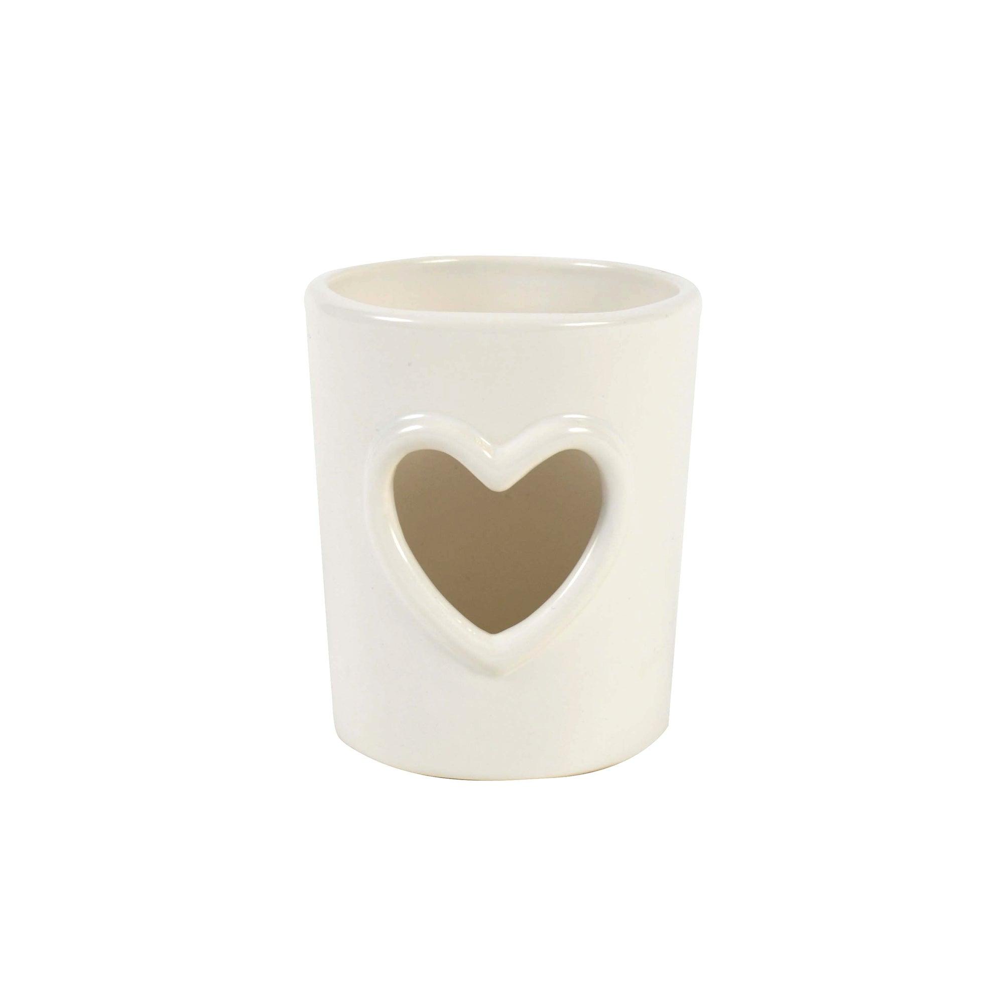 White Heart Tealight Holder