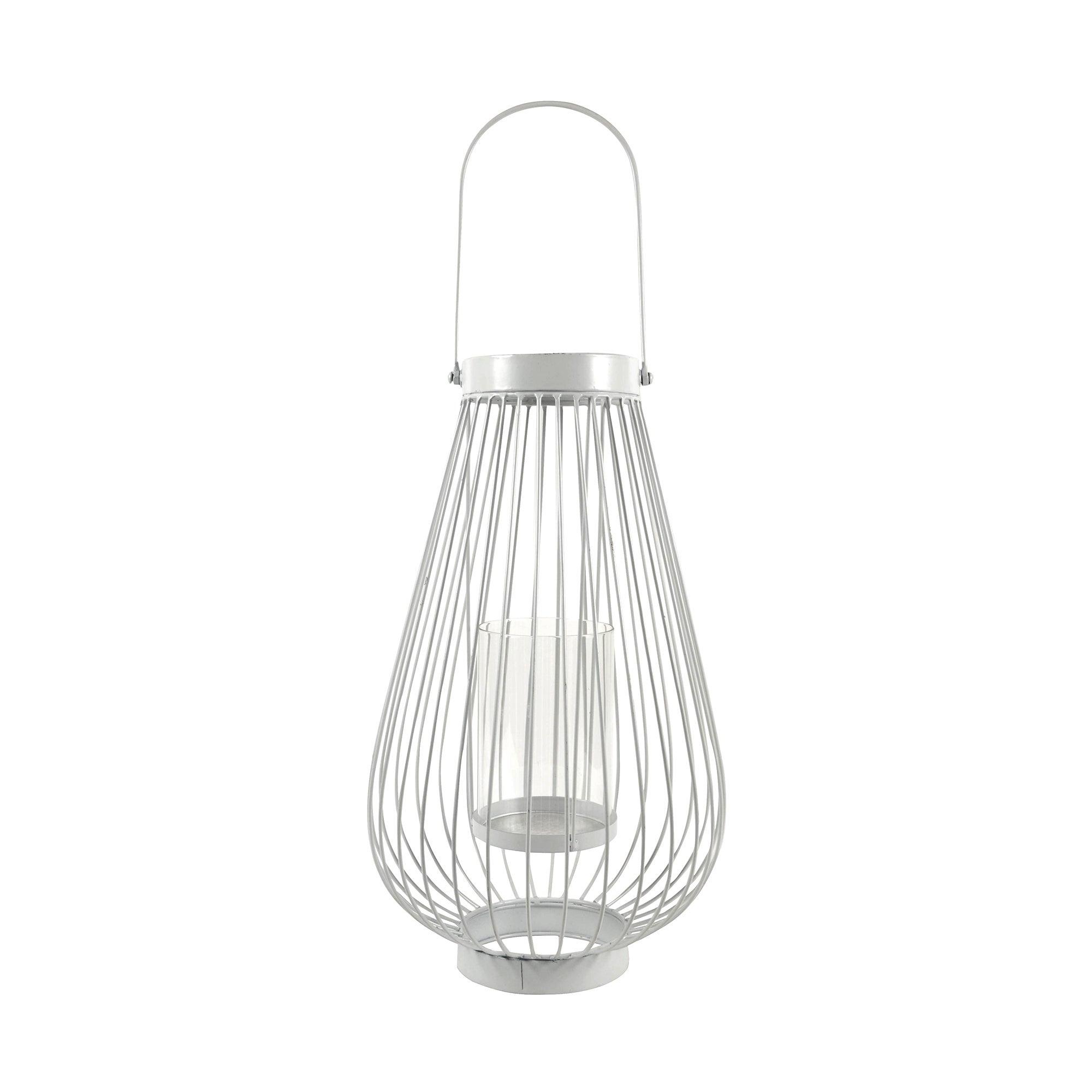 White Wire Metal Lantern