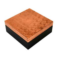 Copper Square Box with Embossed Lid