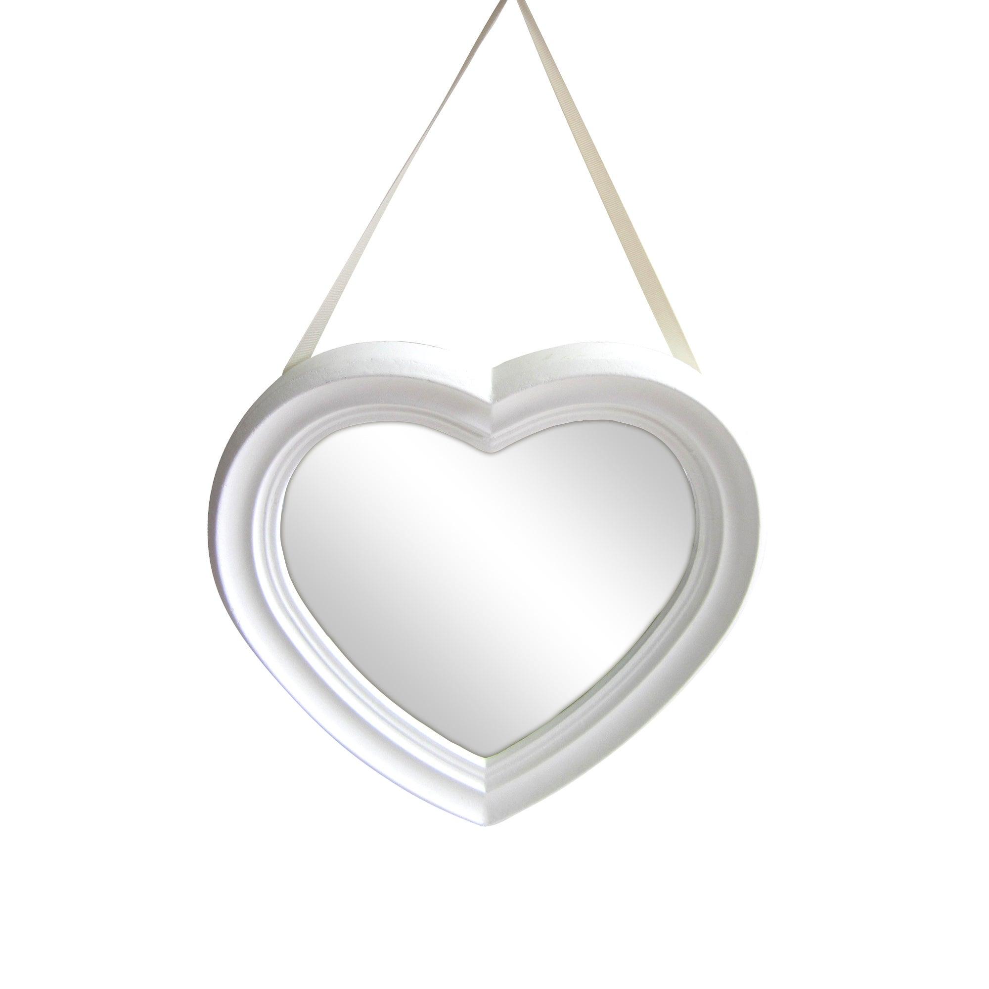 White Heart Shaped Hanging Mirror