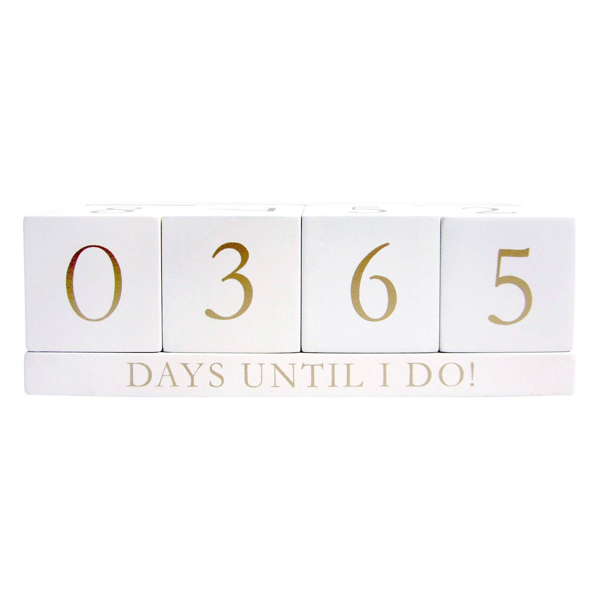 White Wooden Wedding Countdown Blocks