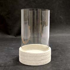 Beige Hurricane Candle Holder