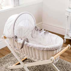 Dorma White Bunny Meadow Collection Moses Basket and Coverlet