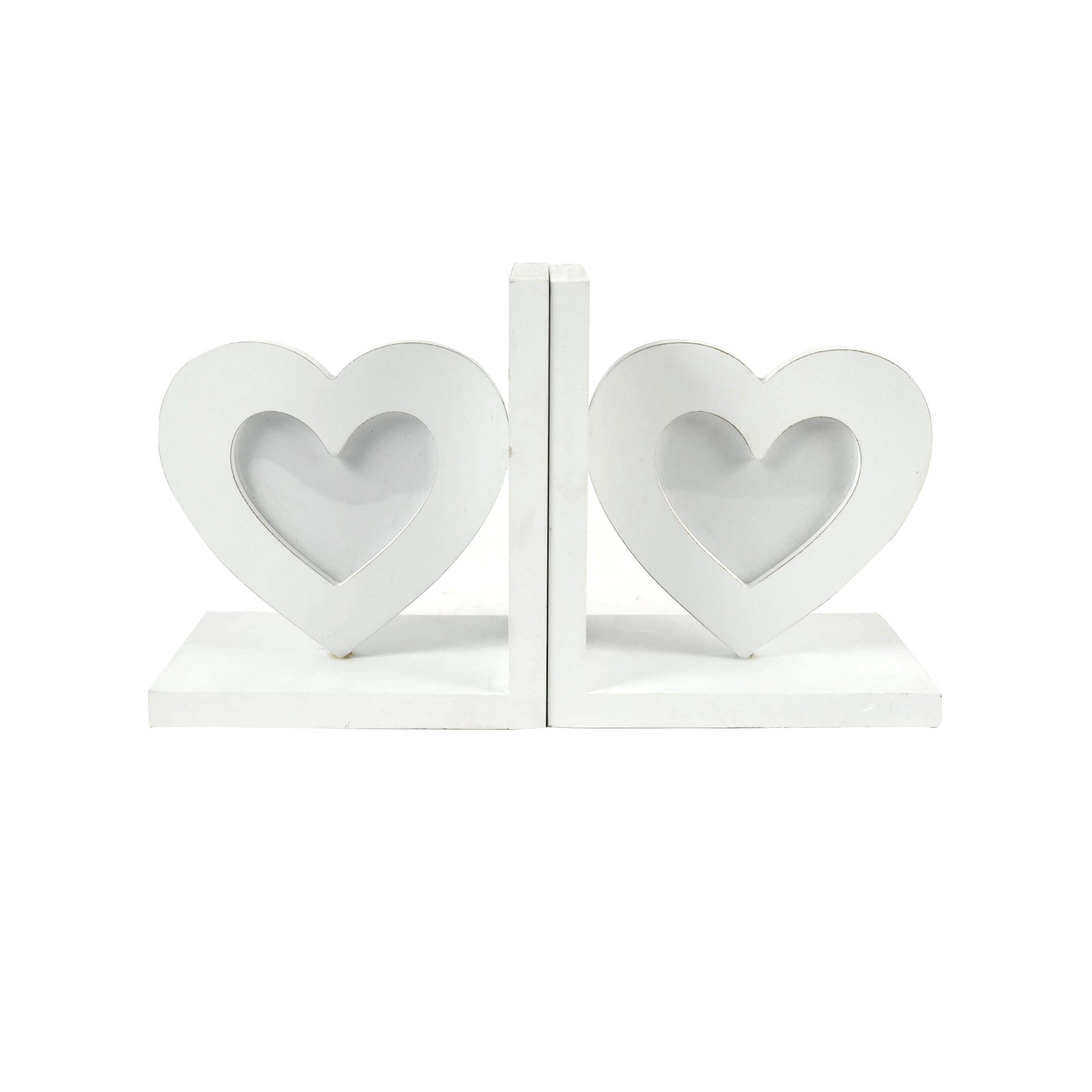 White Heart Photo Frame Bookends