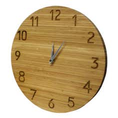 Carved Bamboo Wall Clock