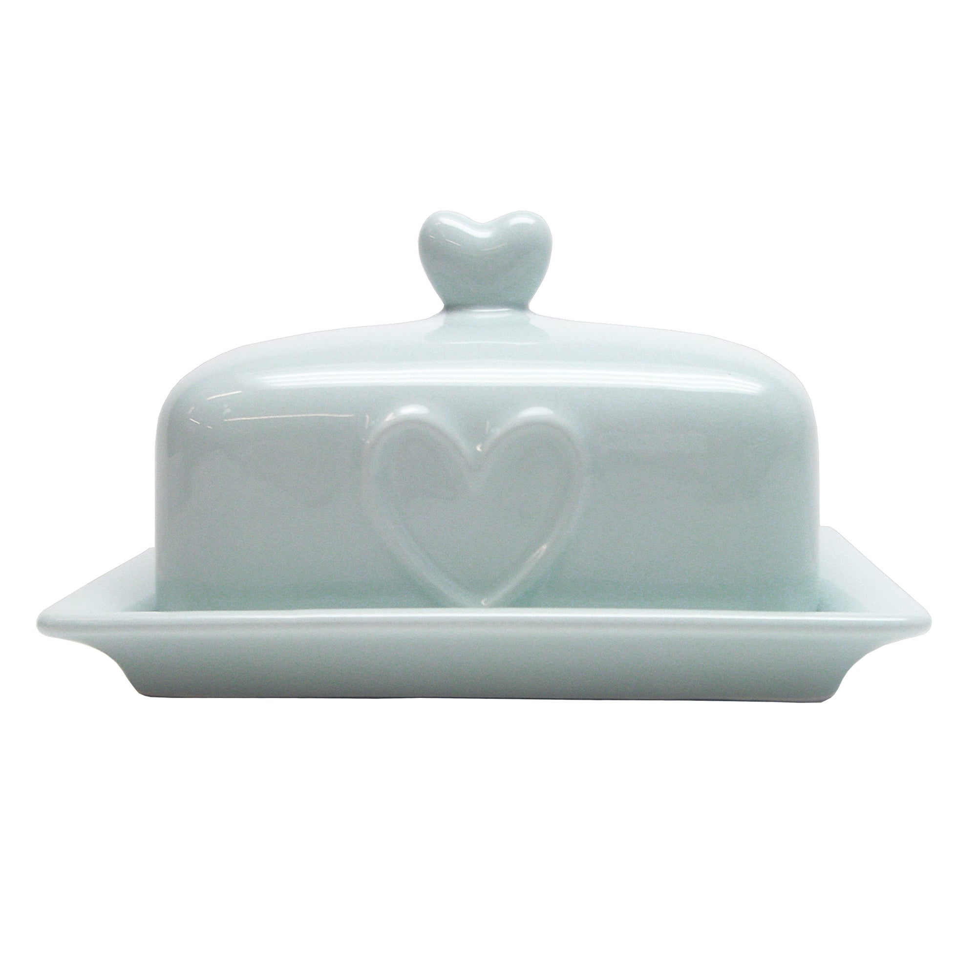 Duck Egg Country Heart Collection Butter Dish