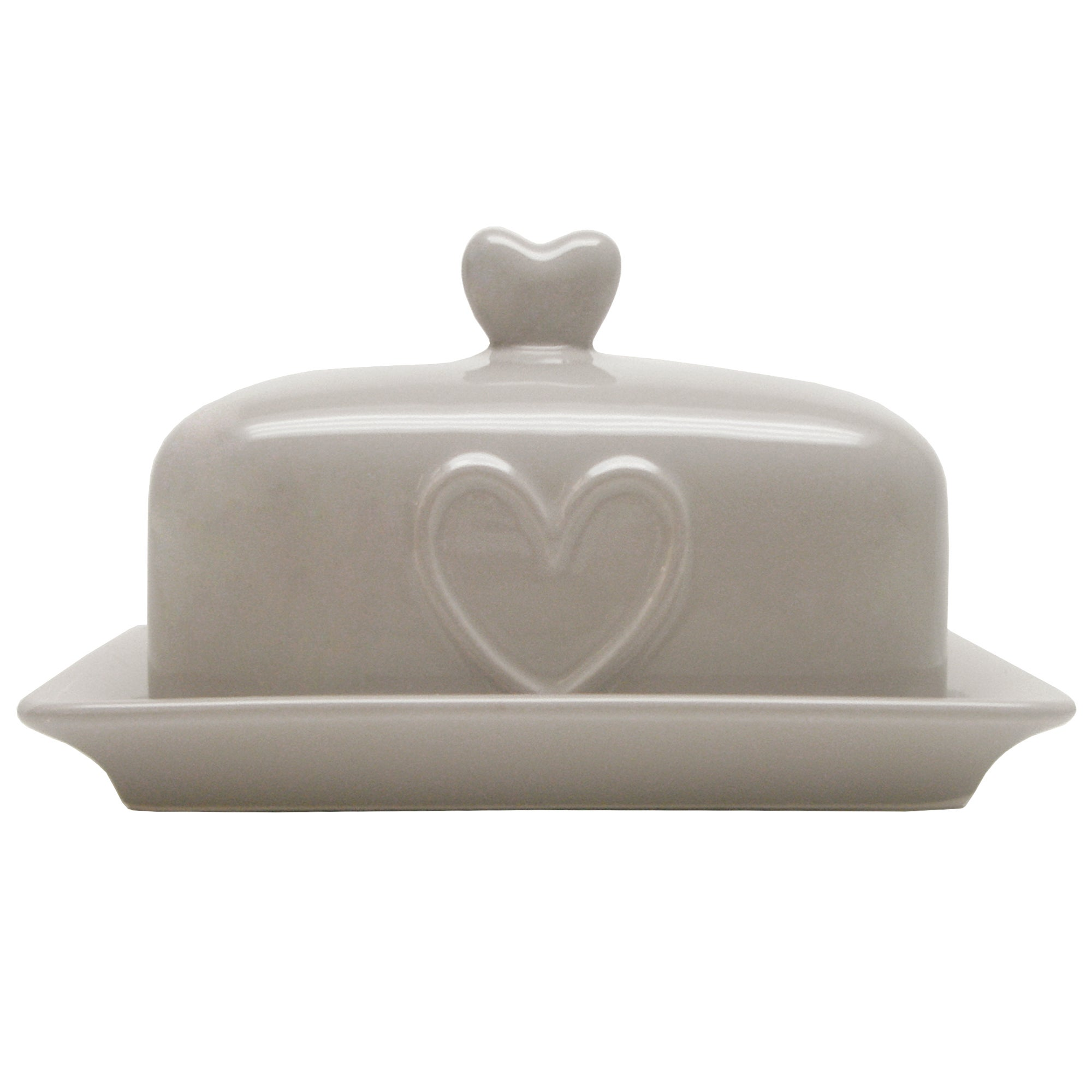 Taupe Country Heart Collection Butter Dish