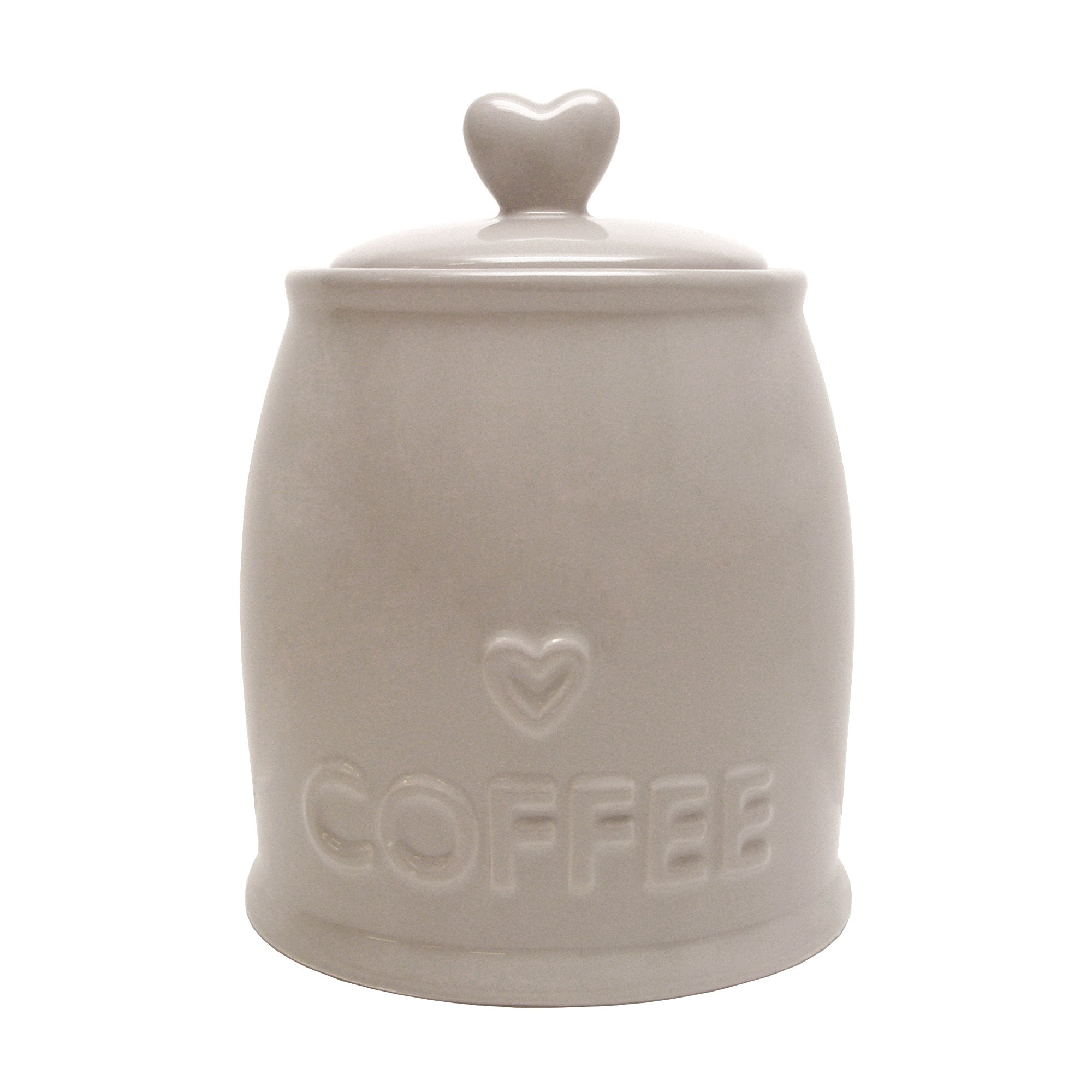 Taupe Country Heart Collection Coffee Jar