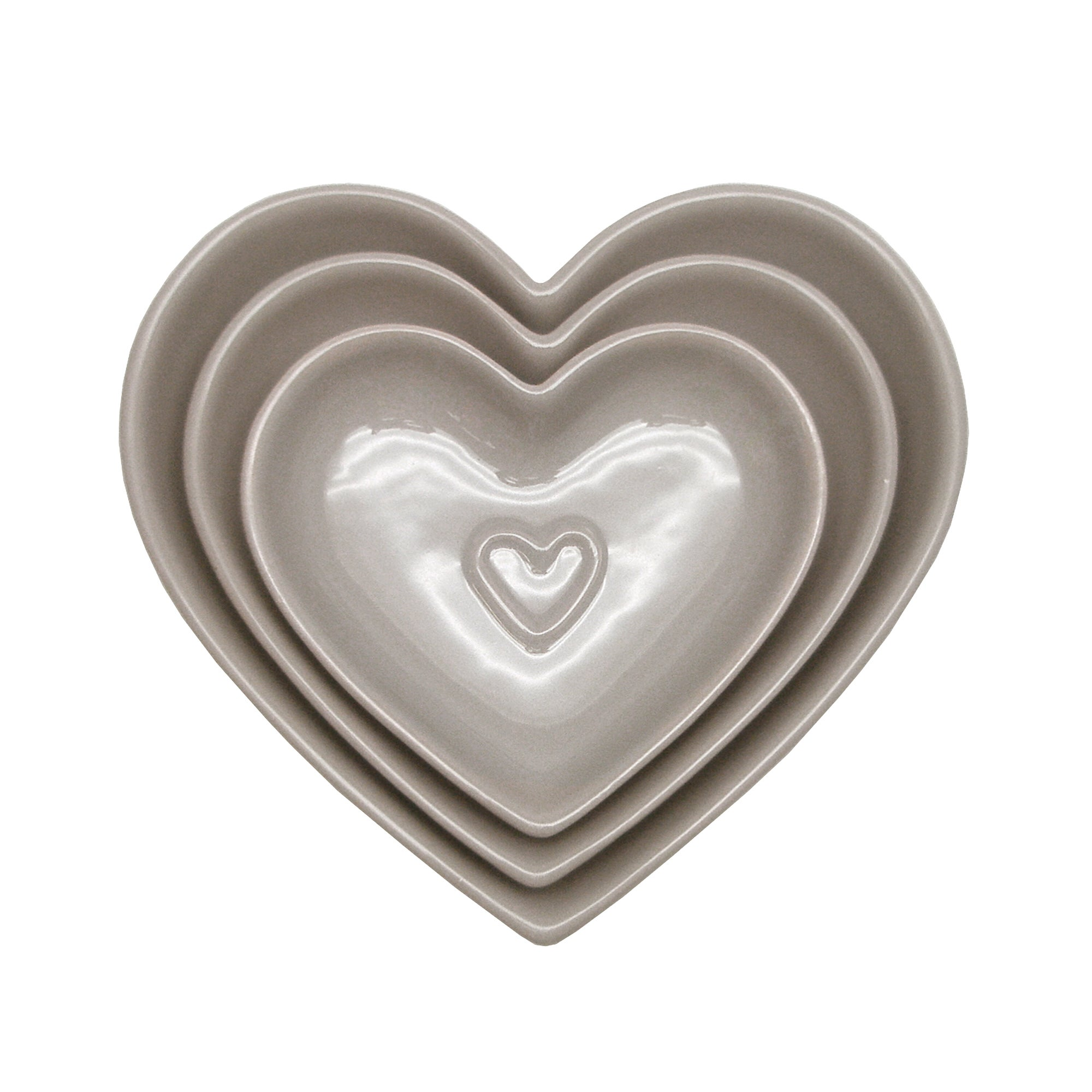Taupe Country Heart Collection Nesting Bowls